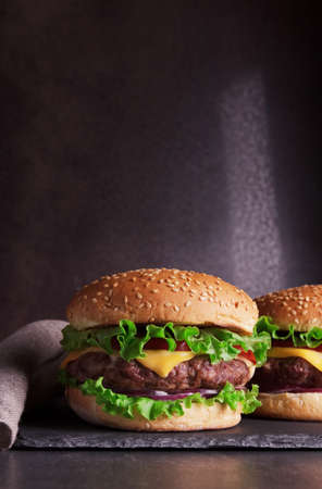 Two juicy fragrant burgers on a dark background with a burlap napkin Archivio Fotografico
