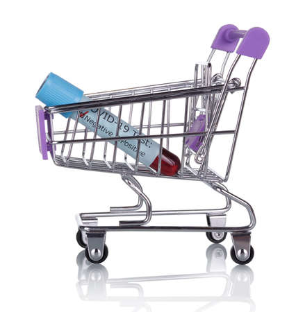 Concept. Shopping cart with a negative test for isolated on white background Archivio Fotografico