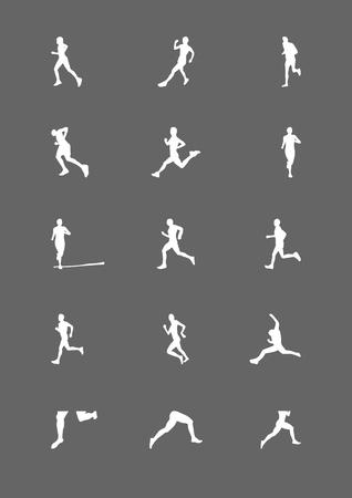 고립 된: Running human silhouette, athlete in sport action run