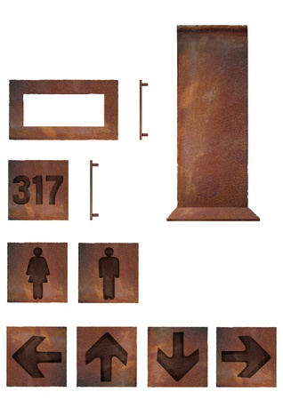 rusted: Rusted metal plates - stand, WC signs, room number and directions Stock Photo