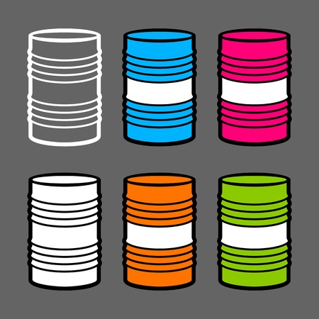 Six steel barrels, vector illustration, outline white, red, blue, orange, green color Vector