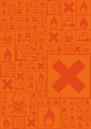 A set of hazardous symbols as background compilation in orange Stock Vector - 8445810
