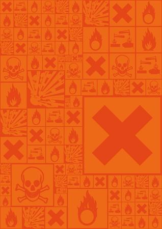 A set of hazardous symbols as background compilation in orange Vector