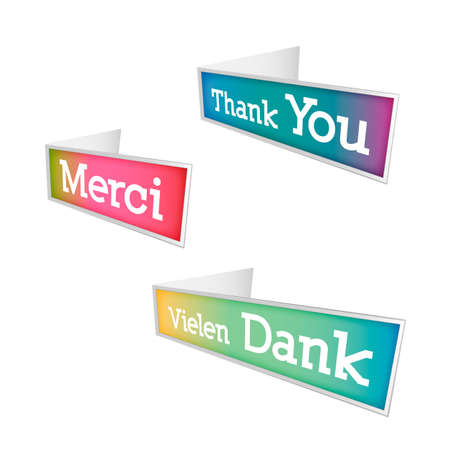 thanks a lot: Thank you bubbles in tree different languages - english, german and french Illustration
