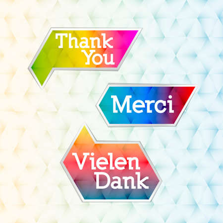 Thank you bubbles in tree different languages - english, german and french