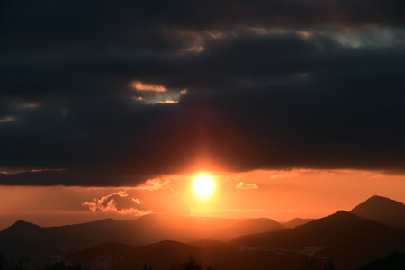 ceske: Sunset with hills in mountain Ceske Stredohori in north of Bohemia