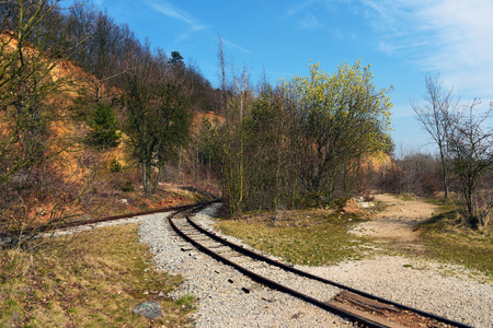 narrow gauge railway: Narrow gauge railway in mine near Beroun Stock Photo
