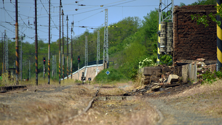 peron: Detail of track in Libechov station in central Bohemia in spring time