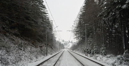 peron: Track in winter near Horni Lidec station