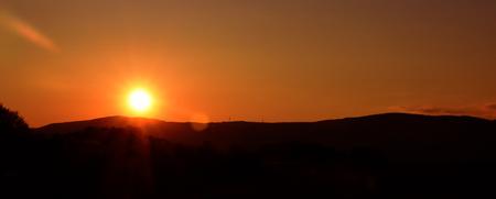 nad: Sunset on Strizak hill near pond in Usti nad Labem city Stock Photo