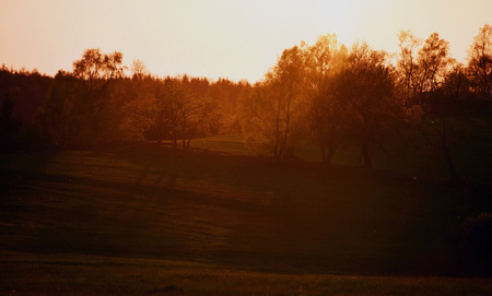bohemia: Sunset in mountains Krusne hory in north Bohemia Stock Photo