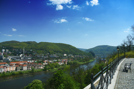 nad: Usti nad Labem city from Vetruse castle in spring time Stock Photo