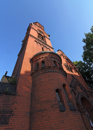 apostle: Red church of Apostle Paul in Usti nad Labem city Stock Photo