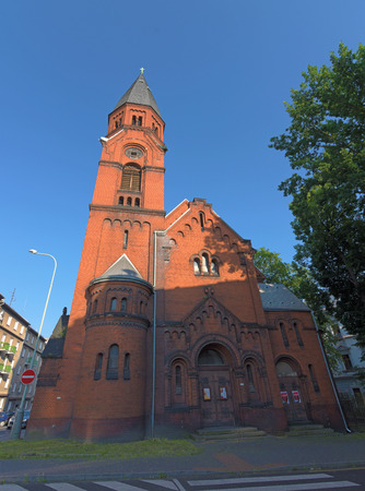 apostle paul: Red church of Apostle Paul in Usti nad Labem city Stock Photo