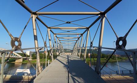 nad: Bridge for people near station in Usti nad Labem city Stock Photo