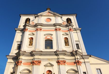 nad: Church of St. Vojtech in Usti nad Labem with new bank near