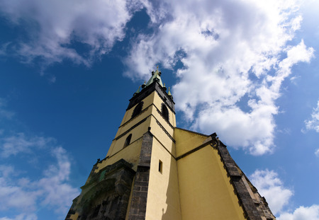 annunciation: Church of Assumption of Mary in Usti nad Labem with oblique tower Stock Photo