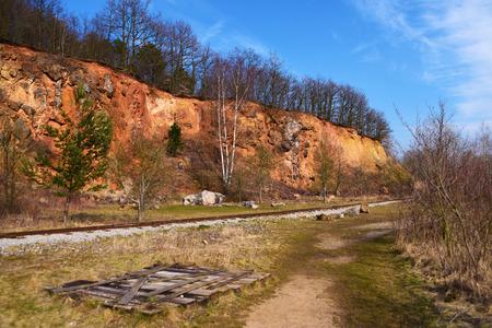 narrow gauge: Narrow gauge tracks in mine near Karlstejn castle in spring time