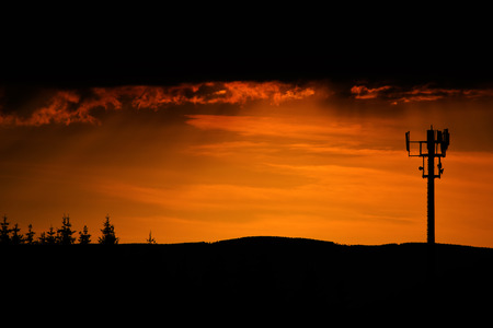 moravia: Sunset in evening in Jeseniky mountains near cable car Stock Photo