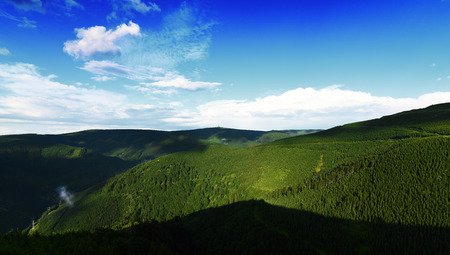 moravia: Jeseniky mountains in nice summer day with white cloud Stock Photo