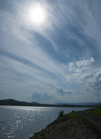 rushes: Milada lake near Usti nad Labem city in hot summer time