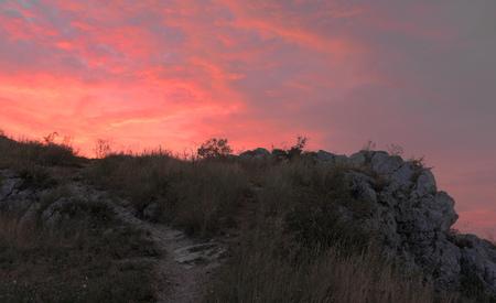 Red orange sunrise in Palava area in hot summer Stock Photo
