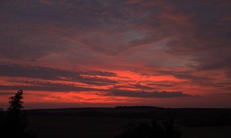 moravia: Red orange sunrise in Palava area in south Moravia
