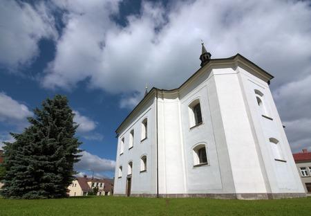 nad: Church in Vysoke nad Jizerou town in mountains Krkonose Stock Photo