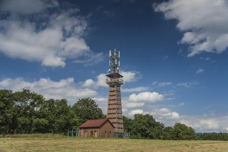 observation: Observation tower Radejcin in summer sunny day Stock Photo