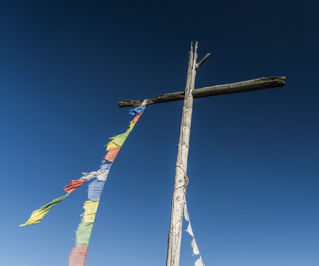 hill station tree: Cross on Velky Spicak hill in Krusne hory mountains