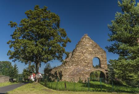 tree works: Ruin of coal ironworks in Kovarska village in summer day Stock Photo
