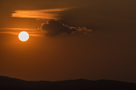 ceske: Sunset in Ceske Stredohori mountains in autumn time