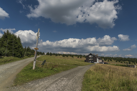 Krkonose mountains in sunny summer day near Snezka hill