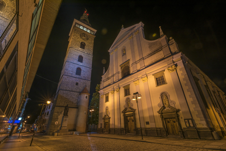 budweis: Night in Ceske Budejovice town in summer time Stock Photo
