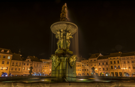 budejovice: Night in Ceske Budejovice town in summer time Stock Photo
