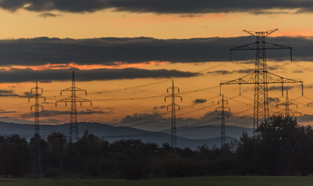 budejovice: Electric poles after autumn sunset near Ceske Budejovice town