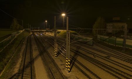 ceske: Tracks and lights in Veseli nad Luznici station in night
