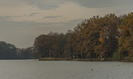 budweis: Cernis pond in autumn cloud cold time Stock Photo