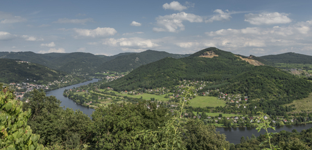 ceske: Valley of river Labe in Ceske Stredohori mountains in summer time Stock Photo