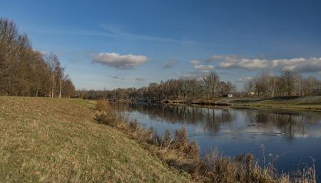 Vltava river in Ceske Budejovice city in winter time