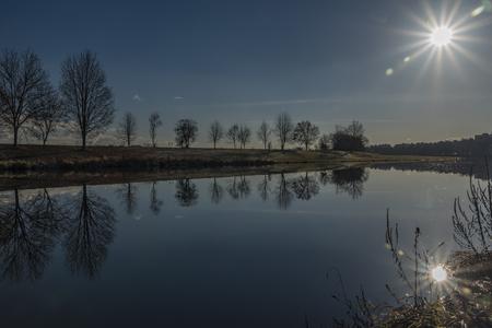 ceske: Vltava river in Ceske Budejovice city in winter time