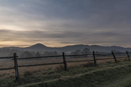 ceske: Sunrise under Milesovka hill in winter morning Stock Photo