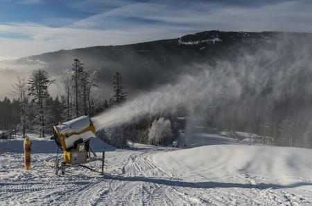 Snow artillery gun in Dolni Morava ski slope