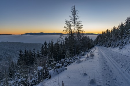 moravia: Sunrise in Jeseniky mountains in Christmas time near Kralicky Sneznik hill