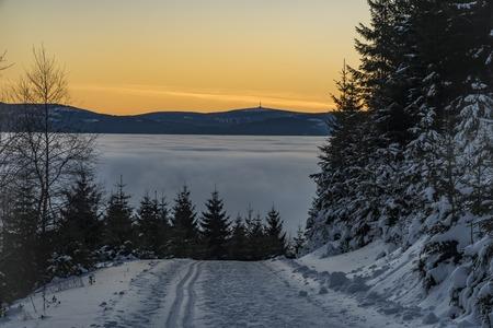 Sunrise in Jeseniky mountains in Christmas time near Kralicky Sneznik hill