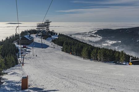 Ski slope in Dolni Morava village in Jeseniky mountains