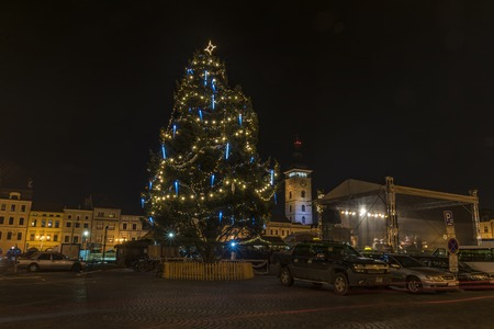 budvar: Christmas tree and time in Ceske Budejovice city in south of Bohemia Stock Photo