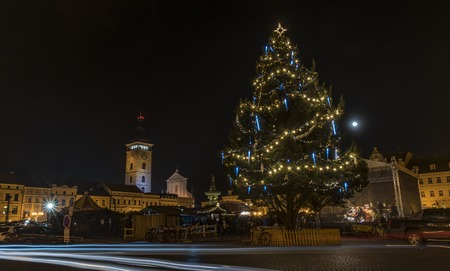 budejovice: Christmas tree and time in Ceske Budejovice city in south of Bohemia Stock Photo