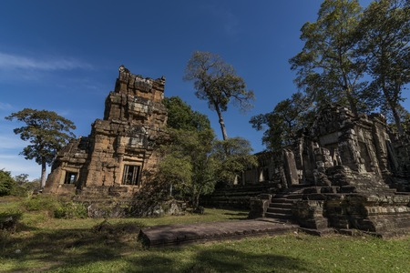 Temple near Angkor Wat with nice blue sky in Cambodia