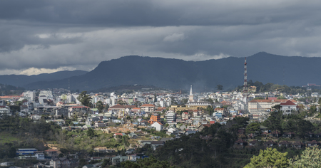 dalat: View from cable car in Da Lat city in Vietnam